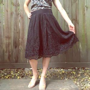 Ann Taylor Eyelet Silk & Cotton Midi Skirt